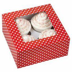Cajas, pack 3 cajas presentación 4 cupcakes Roja Lunares Wilton