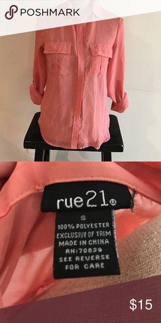 Rue 21 Button Up blouse Peach in color! Perfect with skinny jeans and wedges! Size small.. great condition! Rue 21 Tops Button Down Shirts