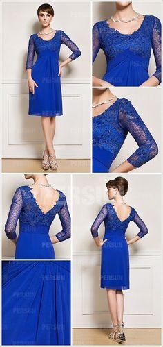 Three quarter length sleeve blue formal cocktail mother of the bride dress [WMDA0083]- AU$ 156.48 - DressesMallAU.com