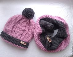 Купить Теплый зимний комплект шапка и снуд - серый цвет, сиреневый цвет, комплект вязаный