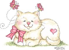 Sweet Kitten, by Laurie Furnell Illustration Mignonne, Cute Illustration, Cute Images, Cute Pictures, Bing Images, Cat Clipart, Happy Spring, Illustrations, Cat Art