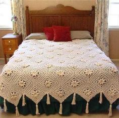 Curlicue Coverlet Crochet Pattern PDF by Maggiescrochet on EtsyPicture of Curlicue Coverlet Crochet Pattern . The flowers remind me of edelweiss.Curlicue Coverlet Pattern is a delicate crochet pattern that you can't help but fall in love with. Crochet Afghans, Motifs Afghans, Crochet Bedspread, Afghan Crochet Patterns, Crochet Granny, Crochet Blankets, Crochet Curtains, Crochet Tablecloth, Baby Blankets