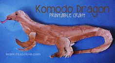 "komodo dragon printable craft from ""Learn Create Love"""