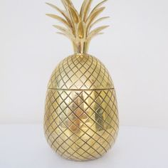Antique gold tin pineapple icebucket