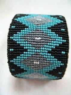 Turquoise Black Bead Loom Brac
