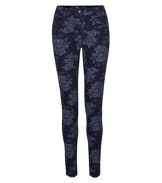 32in Dark Blue Floral Jacquard Skinny Jeans, £25 New Look, Dark Blue, Floral Jeans, Skinny Jeans, Denim, Jeans Pants, Blue Jeans, Polyvore Fashion, Stuff To Buy