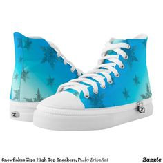 Frozen Snowflakes Zipz High Top Sneakers, Printed Shoes. Unisex sizing: 4-13 Men's | 6-15 Women's Material: Durable canvas tops, rubber soles.