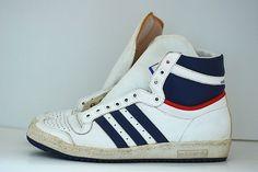 Vintage Hi top Adidas Basketball Top Ten Sneakers, Retro