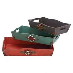 "Three piece wood tray set with warmly weathered finishes.   Product: Small, medium and large trayConstruction Material: WoodColor: Red, turquoise and blackDimensions: Small: 16"" WMedium: 18"" WLarge: 20"" W"