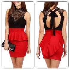 Sexy Red Back Hollow Peplum Dress
