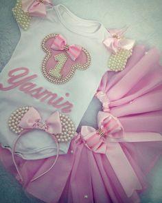 Body personalizado com tutu minnie rosa com pérolas e strass
