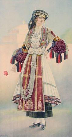 Traditional Greek costume (Karagouna) in Thessaly, Greece Greek Traditional Dress, Traditional Fashion, Traditional Outfits, Greek Costumes, Dance Costumes, Costume Shop, Folk Costume, Afghanistan Culture, Greek Dress