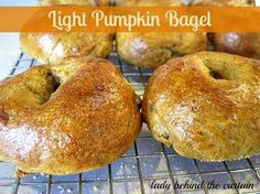 Light Pumpkin Bagel (180 calories) - Lady Behind The Curtain. Ingredients: pumpkin, brown sugar, salt, cinnamon, nutmeg, allspice, bread flour, active dry yeast, egg white, cornmeal.  Maple Nut Spread ~ light cream cheese, lijght maple syrup, cinnamon, walnuts (only 30 calories = 2 tbsp!)