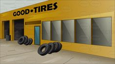 Outside a tire shop #alignment #alone #backdrop #background #balancing #car #empty #exterior #fix-itshop #garage #glassdoor #glasswindows #goodtires #installation #nitro #outbuilding #panorama #repairshop #rotation #rubber #scene #scenery #scope #servicedepartment #setting #storage #store #tire #tires #truck #tyres #van #view #vista #vulcanize #wagon #wheelalignment #wheelbalancing #wheelrotation #wheels #yellow #vector #clipart #stock