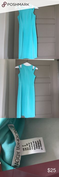 Eggshell Blue Maggy London Dress This sleeveless dress has been worn only twice. Size 4. True to size. Has cut outs on the shoulders. Very soft and comfortable. Maggy London Dresses