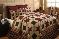 Country and Primitive Bedding, Quilts - Westbrook bedding by IHF - Country Decor, Primitive Decor, Bedding, Braided Rugs - I like the plaid border Country Bedding, Country Quilts, Rustic Bedding, Country Bedrooms, Western Bedding, Star Bedding, Quilt Bedding, Bedroom Sets, Bedroom Decor