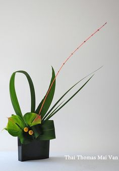the bent leaves. Modern Floral Arrangements, Creative Flower Arrangements, Ikebana Flower Arrangement, Ikebana Arrangements, Beautiful Flower Arrangements, Floral Centerpieces, Beautiful Flowers, Deco Floral, Arte Floral