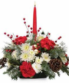 Resultado de imagen de christmas table flower arrangements Adornos
