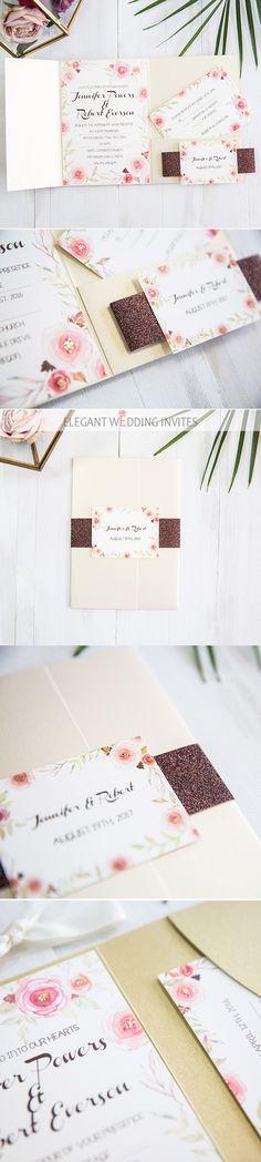 marsala and blush pink foil pressed rose watercolor pocket wedding invitations