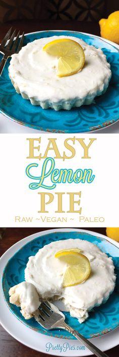 These Easy Lemon Pie your new favorite quick lemon dessert! Vegan, gluten free and paleo!