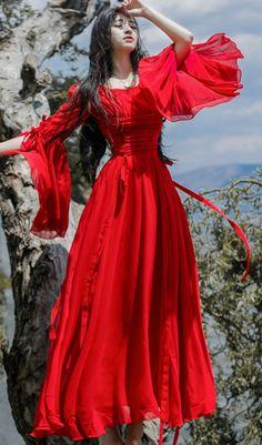 women-red-maxi-dresses-v-neck-flare-sleeve-long-dress-tunic-summer-dress