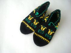 womens Slippers Black green yellow tulip desing by AnatoliaDreams, $27.50