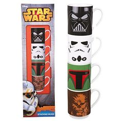 STAR WARS SET OF 4 STACKING MUGS CUP VADER BOBA FETT STORMTROOPER CHEWBACCA FILM #StarWars #FilmTV