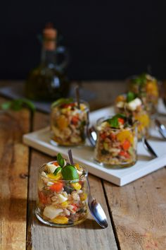 Bicchierini di farro, verdure e Mozzarella Fior di Latte Pettinicchio