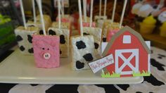 Animal Rice Krispie treats at a farm themed baby shower party! See more party ideas at CatchMyParty.com!