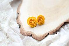 Polymer Clay Rose Flowers Earrings Yellow Rose by kskalozubova