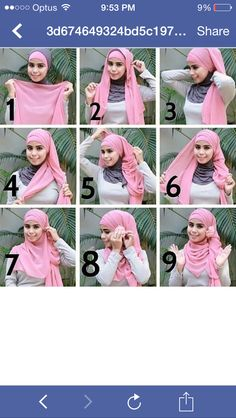 Pretty and simple. Set scarf even on head . Pin front edges behind neck. Pull both tails to one side with opposite one under. Loosely wrap under piece over head and under chin. Pin over ear where you started Modern Hijab Fashion, Islamic Fashion, Muslim Fashion, Square Hijab Tutorial, Hijab Style Tutorial, Turban Tutorial, Muslim Hijab, Muslim Dress, Beau Hijab