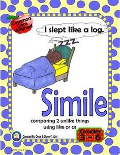 Simile Center Activity for small groups or independent literacy station work during guided reading. Students read a sentence with a simile in it and record what it means. Next they choose similes from a list and write their own sentences.