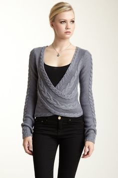 Interesting sweater shape idea for design inspiration. I'd choose a different cable pattern.