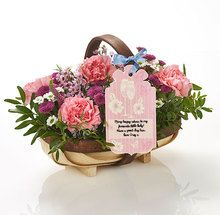 Break out the bubbles! Our deluxe birthday trug is a one-of-a-kind gift that they'll never forget. Brimming with pinks, creams and greens, and topped off with your felicitations on a Flowercard swing tag.