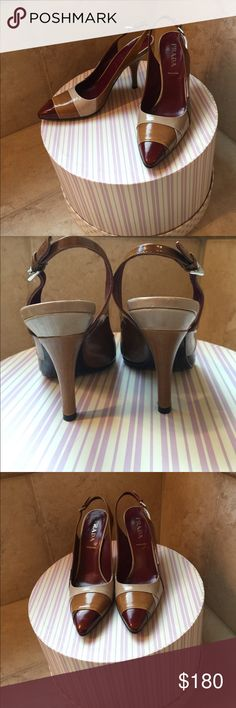 Prada heels Almost new only worn once for a few hours Prada sling back heels. Super chic and comfortable Prada Shoes Heels