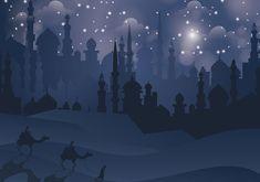 Night Background, Art Background, Wallpaper Ramadhan, Giraffe Silhouette, Silhouette Vector, Arabian Nights Theme, Night Illustration, City Vector, Free Vector Art