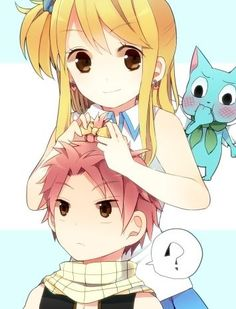 Awww so cute! Lucy putting a bow in natsu's hair while he isnt looking