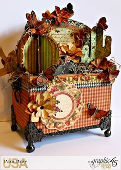 Scrapbook Flair: Pam Bray Designs: Botanicabella Succulent Caddy with Graphic 45