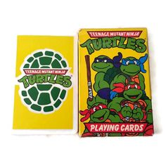 New to ThriftyTheresa on Etsy: 1990 Teenage Mutant Ninja Turtles Playing Cards TMNT Deal Me In Dude! Classic Cartoon Pictures & 3 Game Instructions from Master Splinter (8.00 USD)