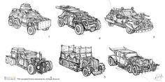 Road Fighters-Vehicle Design by Yi-Jia (Dengyijia Liu) on ArtStation. Mad Max, Post Apocalyptic, Vehicles, Artist, Artwork, Model, Design, Ideas, Black And White