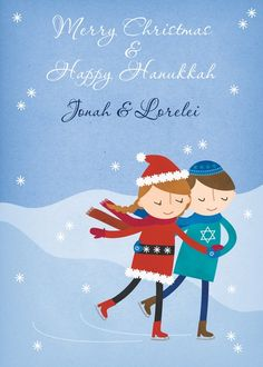 Faithful Skate - Hanukkah Greeting Cards in Blue | Rosy Designs  Do you celebrate both holidays?