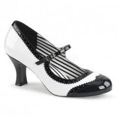 8624b260cd6bb Chaussure escarpin vintage noir et blanc vernis style Mary Jane rétro, bout  rond fleuri et