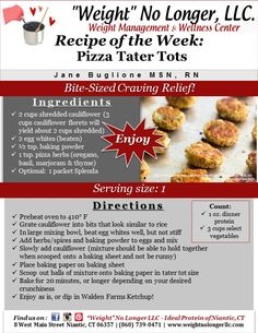 Wednesday's Weekly Recipe: Pizza Tater Tots #IdealProtein #WeightNoLonger #GetEmWhileTheyreHot #FuelYourBody #HealthyAlternatives Protein Foods List, Protein Diets, Keto Recipes, Healthy Recipes, Protein Recipes, Actifry Recipes, Healthy Options, Yummy Recipes, Ipa Recipe