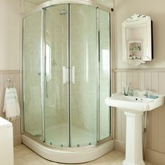 Neutral tongue-and-groove shower | Bathroom decorating ideas | Ideal Home | Housetohome.co.uk