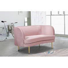 "Zipcode Design™ Evan 66.5"" Wide Square Arm Convertible Sofa & Reviews   Wayfair Pink Loveseat, Meridian Furniture, Guest Room Office, Big Sofas, Inexpensive Furniture, Contemporary Sofa, Pink Velvet, Fabric Sofa, Bedroom Sets"