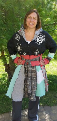 Fun Coat from Recycled Sweaters by WearableArtbyDenise on Etsy