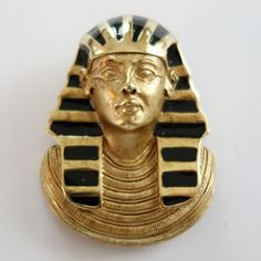 VINTAGE ERWIN PEARL EGYPTIAN REVIVAL GOLD PLATE ENAMEL PHARAOH PENDANT BROOCH #ErwinPearl #PendantBrooch