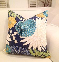 Blue Floral Cushions Designer Pillows Cushion by MyBeachsideStyle