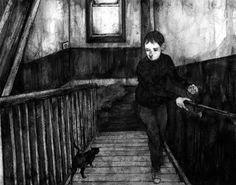 David Lupton illustrations boy and cat