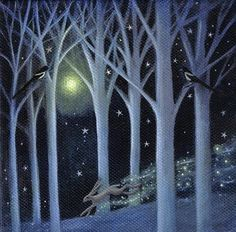 I love this print of a magical bunnie in the print called Indigo Woods by Karen Davis.  http://www.etsy.com/listing/76317412/indigo-wood
